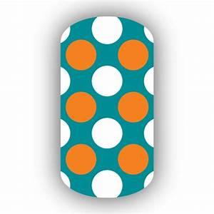 Aqua with White & Light Orange Retro Polka Dots Nail Wraps