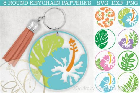 No physical product will be sent!!! Download Tropical Round Keychain Patterns SVG - Free and ...