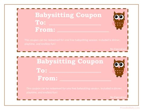 Baby Shower Bingo Word List by Printable Babysitting Coupons Free Baby Sitting Voucher
