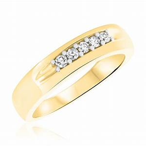 1 4 ct tw diamond men39s wedding band 10k yellow gold With men wedding rings with diamonds