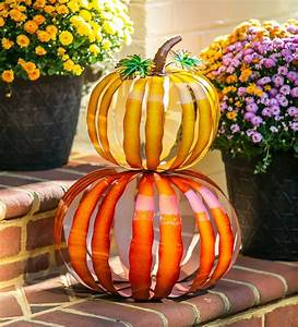Two, Pumpkins, Are, Better, Than, One, Our, Stacked, Metal, Pumpkin, Garden, Sculpture, Is, An, Airy, And