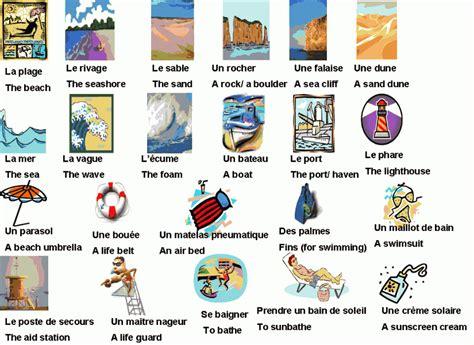 chambre de commerce cours vocabulaire les vacances à la mer anglais