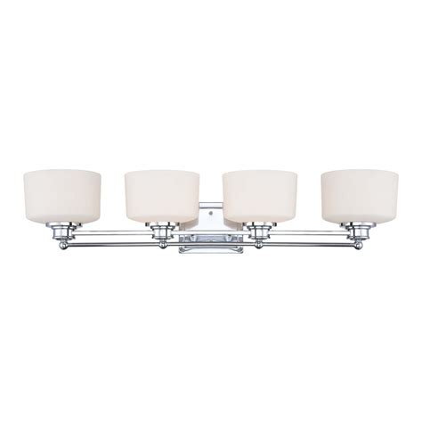 Chrome 4 Light Bathroom Fixture by Modern Bathroom Light With White Glass In Polished Chrome