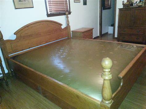 king size solid oak waterbed waveless  bethannsgarage