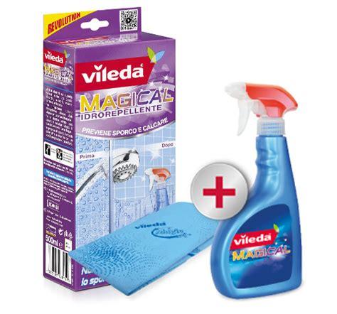 pulire calcare vetro doccia vileda magical trattamento anticalcare spray 500ml panno