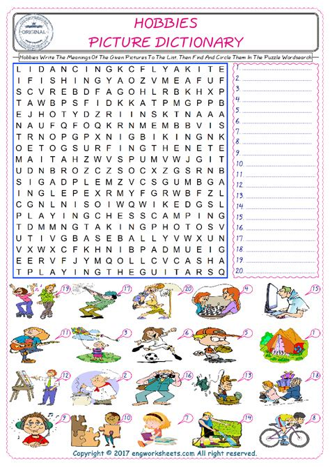hobbies esl printable english vocabulary worksheets