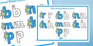 cursive one armed robot letters formation display poster With robot letters handwriting