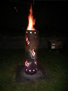 Gasflasche Als Feuerstelle : feuertonne aus einer gasflasche geschnitzt vorstellung grillforum und bbq www ~ Whattoseeinmadrid.com Haus und Dekorationen