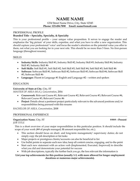 Resume For by Resume Exle Resume Sle All Level Resumes Resume