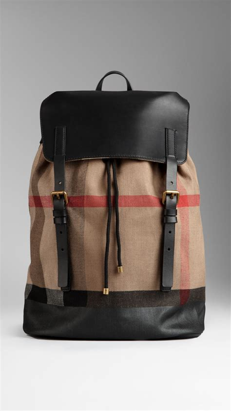 lyst burberry check canvas backpack  natural  men