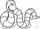Coloring Pages Earthworm Cartoon Printable Drawing sketch template