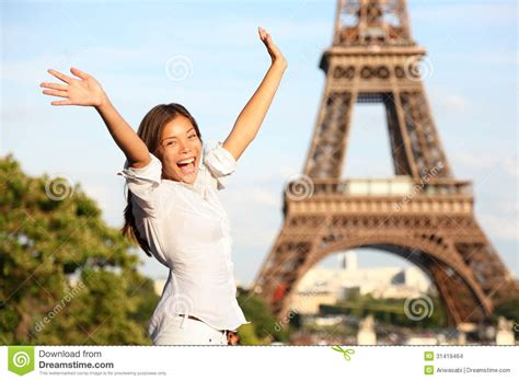 travel paris eiffel tower woman happy tourist stock images
