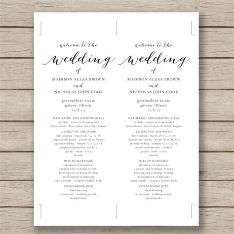 Free Printable Wedding Program Templates Word wedding program template 64 free word pdf psd