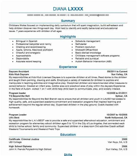 Daycare Resume by Daycare Assistant Resume Sle Caregiver Resumes