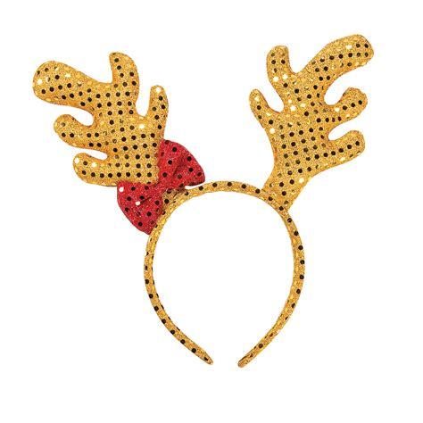 plush sequin reindeer antler headband oriental trading