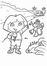 Dora Coloring Pages Ice Cream Explorer Boots Printable Print Children Colorear La Icecream Sheets Colouring Around Rugrats Enjoying Facehugger Exploradora sketch template