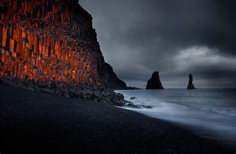 Sunset At Black Sand Beach Iceland Photo