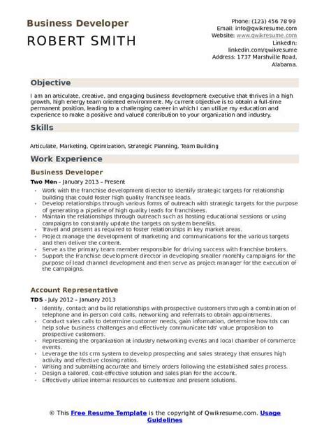 Business Development Resumes by Business Developer Resume Sles Qwikresume