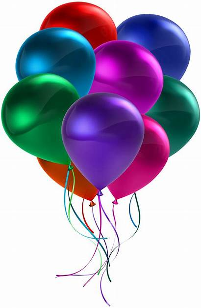 Balloons Birthday Transparent Clip Colorful Clipart Bunch