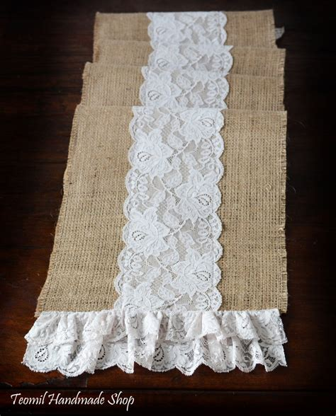 burlap table runner with lace burlap and lace table runner 12x73 by teomil on etsy