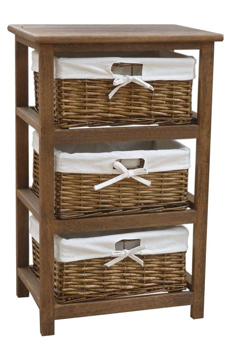 storage cabinet with baskets bentley home wooden storage cabinets with 3 wicker basket