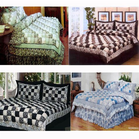 puff bedspreads 4 pce patchwork puff comforter set valance or