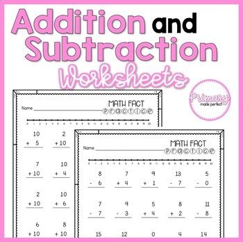 addition and subtraction within 20 worksheets 1st grade math facts