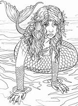 Mermaid Coloring Pages Mermaids Adult Rocks Adults Books Printable Colouring Sheets Colour Siren Ocean Fairy Realistic Cute Teens Visit Template sketch template