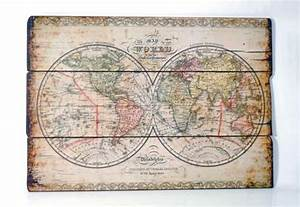 Weltkarte Bild Holz : xl weltkarte aus holz b 102 cm wanddeko bild shabby look ~ Lateststills.com Haus und Dekorationen