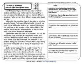free reading comprehensions properties of matter reading comprehension worksheets for 5th graders 1 chemistry