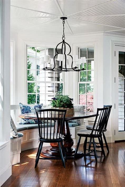 The top seat of the window bench will overhang both sides and the front by 2 inches. Gawgeous breakfast nook | Dining room windows, House and ...