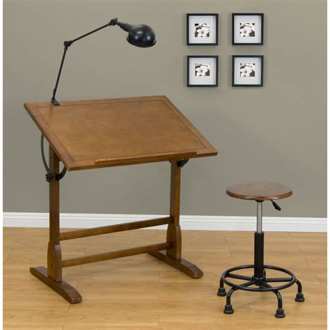 vintage drafting table architect space wood drawing desk