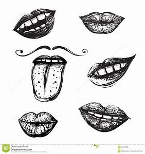 Smile And Mouth Drawing Collection Stock Vector