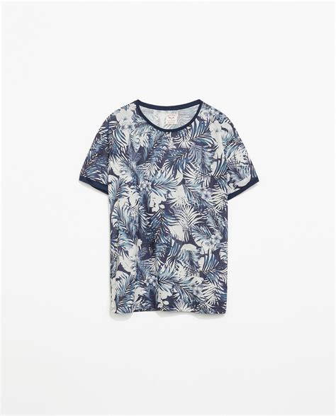 zara flower print tshirt in blue for lyst