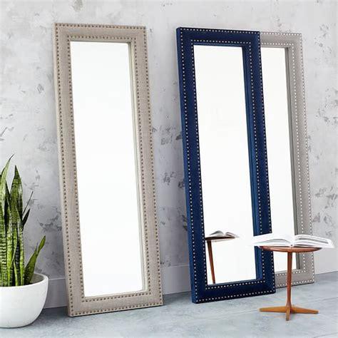 floor mirror gray upholstered floor mirror dove gray velvet west elm