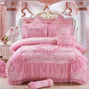 8, 6, 4, Pcs, Pink, Heart, Shaped, Luxury, Bedding, Set, King, Queen