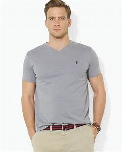 Polo V : polo ralph lauren short sleeve cotton jersey v neck tee in gray for men lyst ~ Gottalentnigeria.com Avis de Voitures