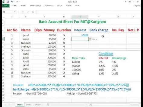 microsoft excel bank account spreadsheet microsoft excel