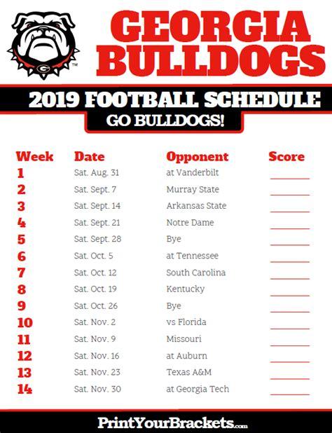 georgia bulldogs football schedule printable