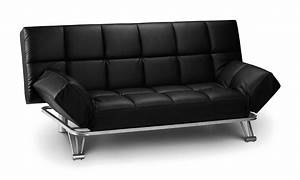 Alzira black soft touch leather 3 position backrest sofa for Soft leather sofa bed