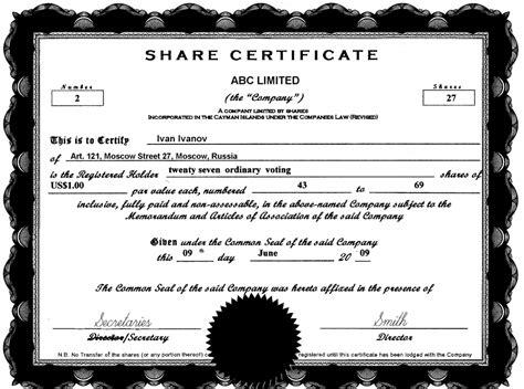sharestock certificate templates excel  formats