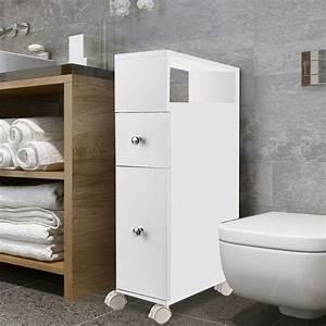 Petit Meuble A Roulette : meuble rangement wc sur roulettes 2 tiroirs blanc meubles et am na ~ Teatrodelosmanantiales.com Idées de Décoration