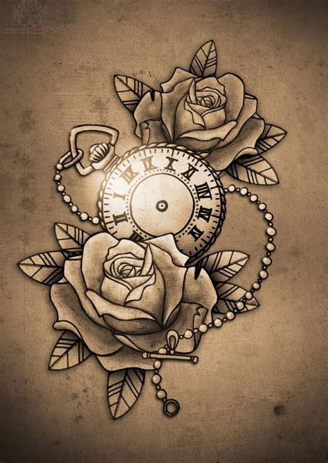 rose  clock tattoo images  pinterest clock tattoos  tattoos  hourglass