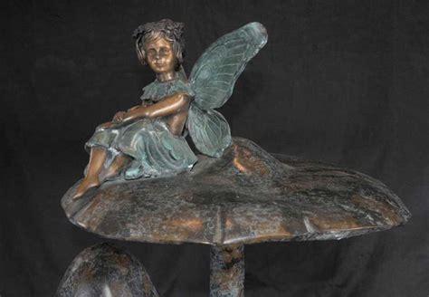 Bronze Pixie Fairy Garden Fountain Mushroom