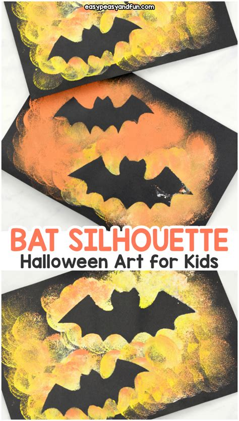 bat silhouette halloween art easy peasy  fun