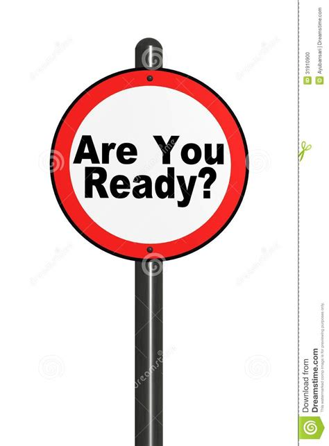 Illustration Of Isolated Road Sign Are You Ready Stock Photo  Image 31910900