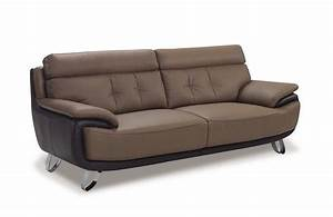 Contemporary tan brown bonded leather sofa prime classic for Modern leather sofas