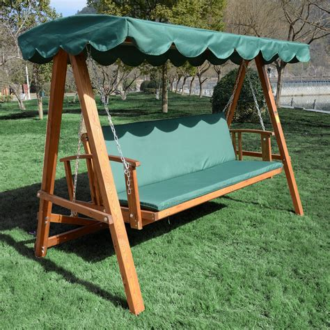 swing patio furniture outsunny wooden garden 3 seater outdoor swing chair green