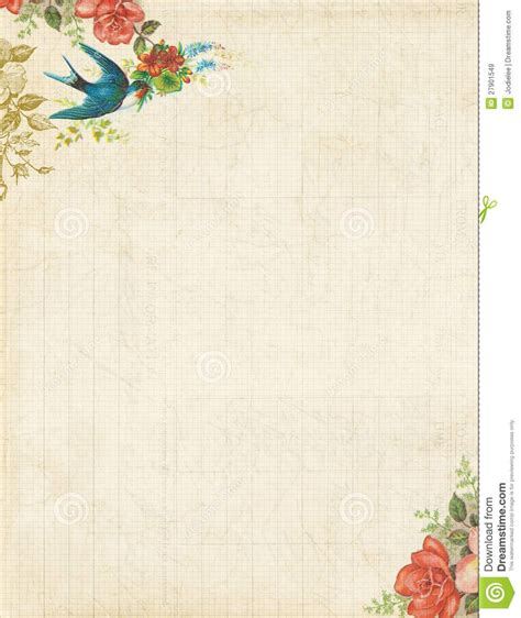 printable vintage bird  roses stationary  background