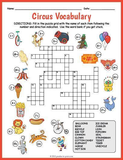printable circus vocabulary image crossword